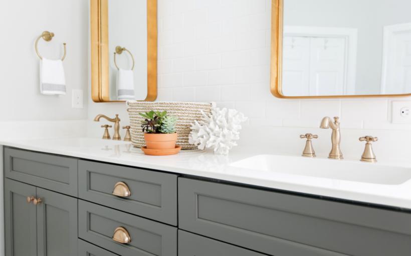 Master bathroom, brass fixtures, grey double sink vanity, renovation, custom builder, Daniel island, brass mirrors, white tile backsplash, custom home