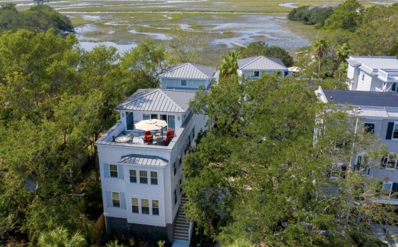 Rooftop patio, Charleston marsh, coastal living, custom home builder, Charleston, custom home